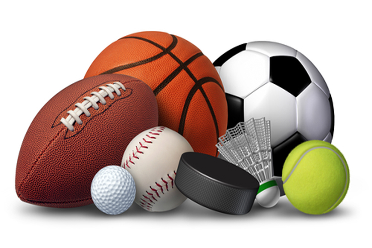Sports equipment with a football basketball baseball soccer tennis and golf ball and badminton hockey puck as recreation and leisure fun activities for team and individual playing.